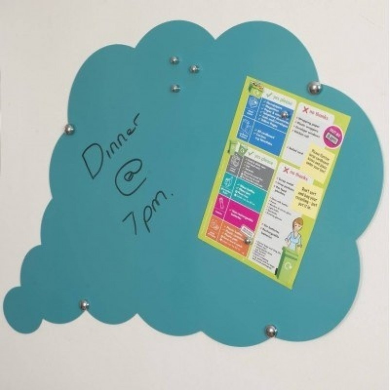 Cloud Shaped magnetic memo board in Teal | Also available in 7 other colours
